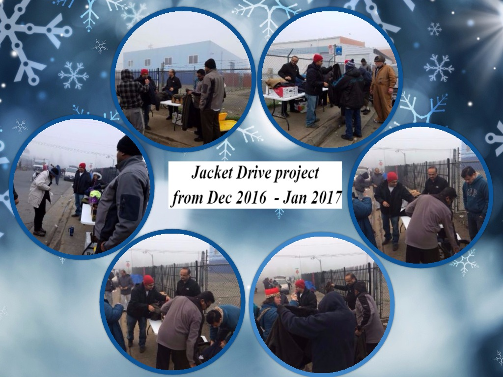 Jacket distribution to homeless today on North C street  on 01/14/2017.